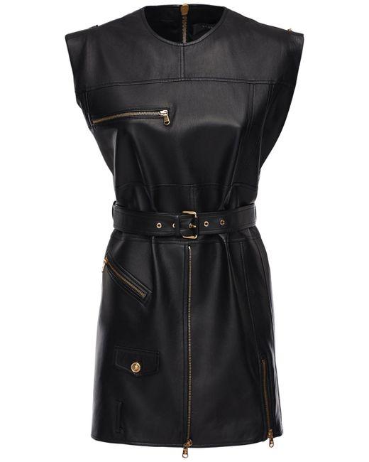 Платье Из Кожи Versace, цвет: Black