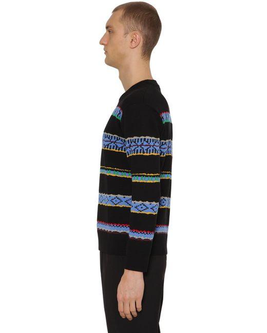 メンズ KENZO ウール インターシャセーター Black