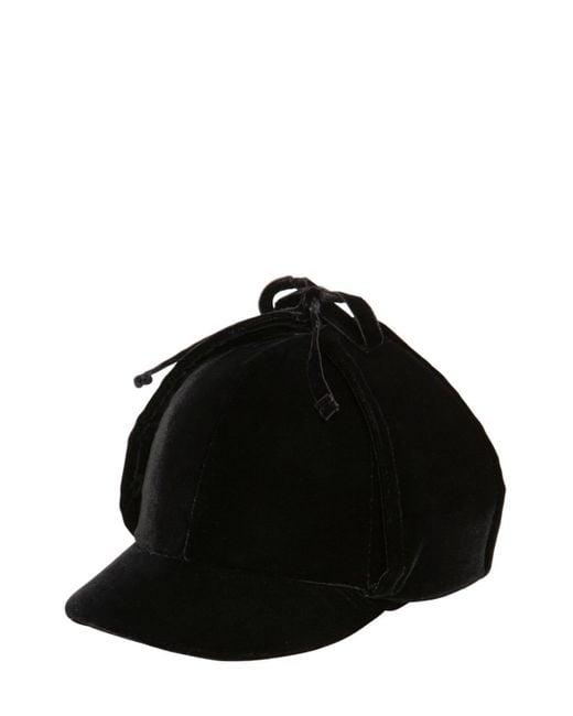 Miu Miu コットンベルベット イヤフラップ帽 Black