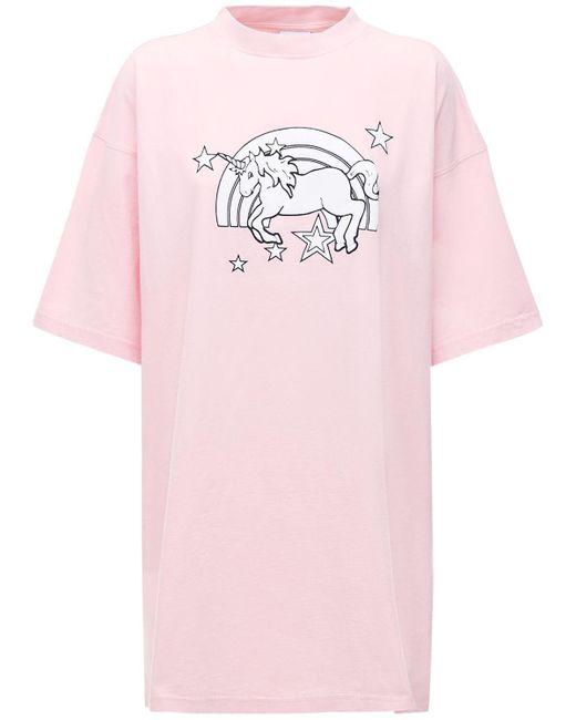 Футболка Из Хлопка Magic Unicorn Vetements, цвет: Pink