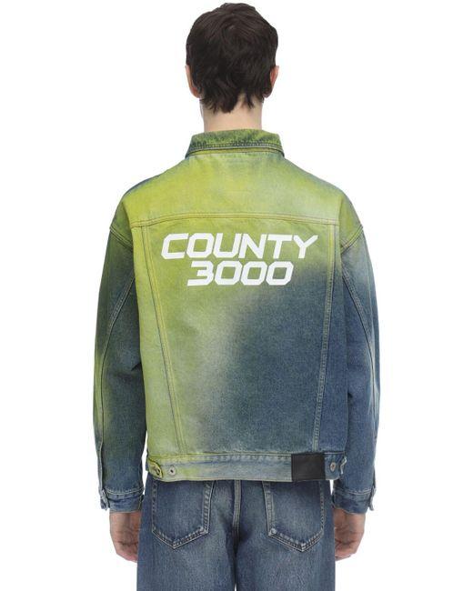 メンズ Marcelo Burlon County 3000 デニムジャケット Blue