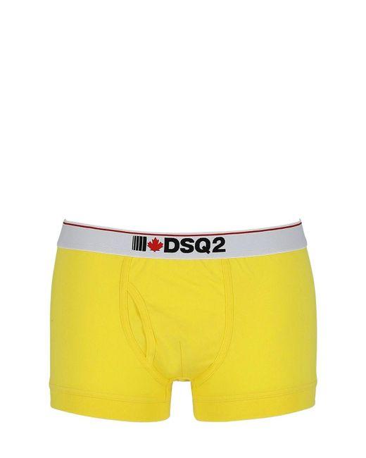 メンズ DSquared² コットンジャージーボクサー Yellow
