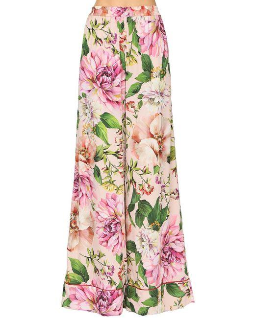 Шелковые Брюки Dolce & Gabbana, цвет: Pink