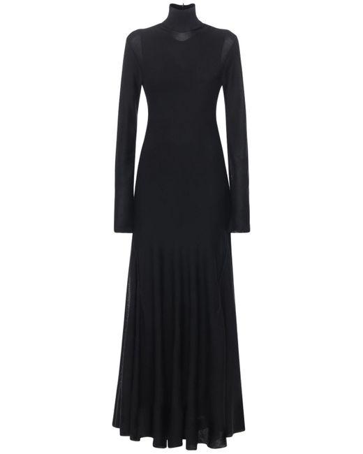 Bottega Veneta ジャージープリーツタートルネックドレス Black