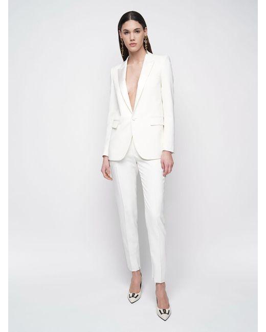 Прямые Брюки Из Шерсти Saint Laurent, цвет: White