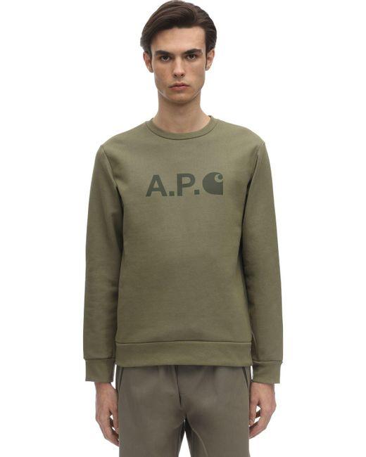メンズ A.P.C. Carhartt コットンスウェットシャツ Green