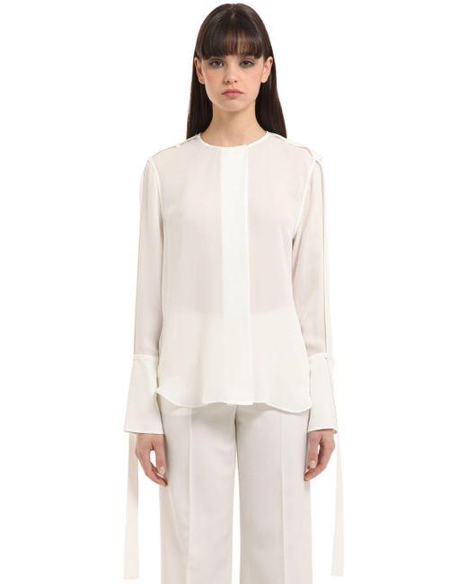 CALVIN KLEIN 205W39NYC - White Double Georgette Shirt - Lyst