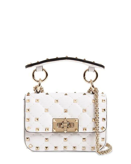 Valentino Micro Rockstud Spike Leather Bag White