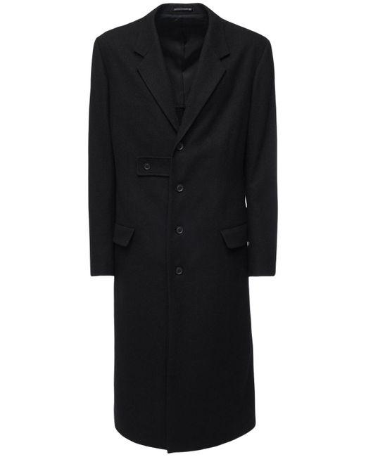 Yohji Yamamoto Black Wool Blend Long Coat for men