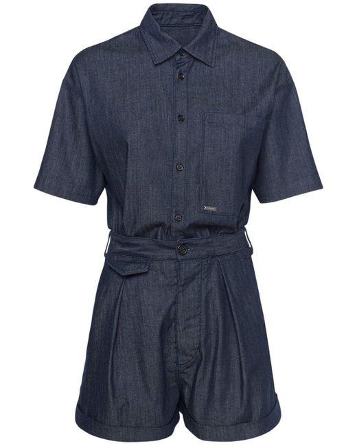 DSquared² コットンストレッチデニムジャンプスーツ Blue