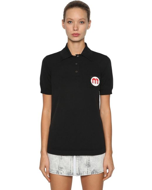 Polo con logo Miu Miu de color Black