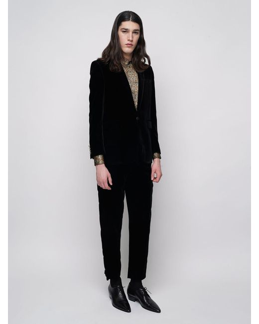 メンズ Saint Laurent スリムフィットベルベットジャケット Black