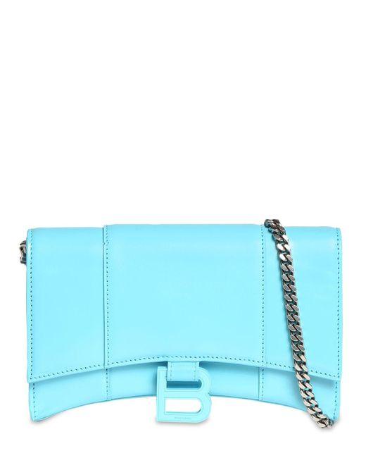 Кожаный Клатч С Цепочкой Balenciaga, цвет: Blue