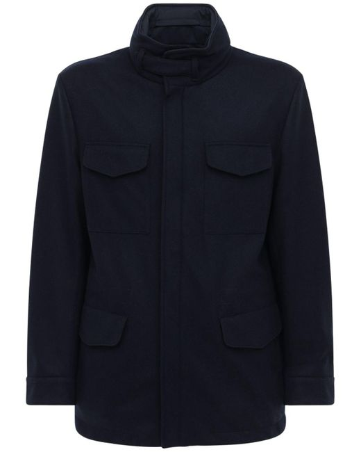 メンズ Loro Piana リバーシブルカシミアウインドブレーカージャケット Blue