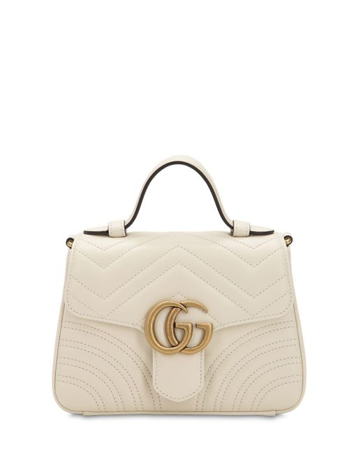 Gucci Gg Marmont ミニ レザートップハンドルバッグ White