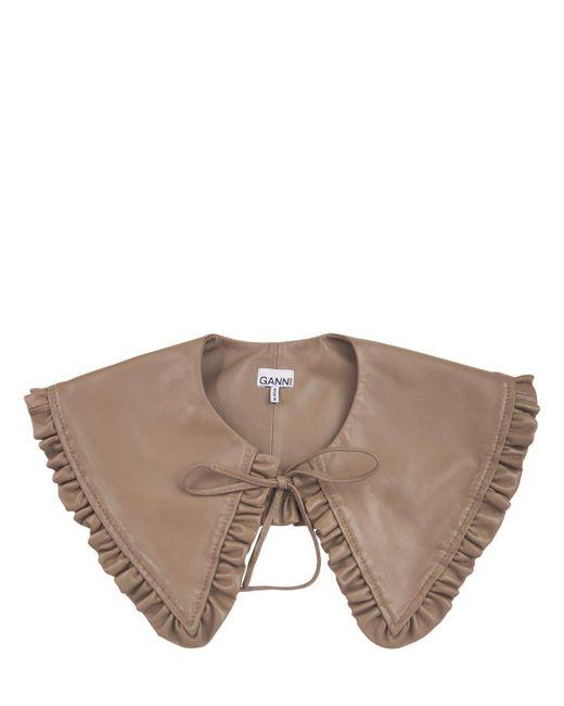 Кожаный Воротник Ganni, цвет: Brown