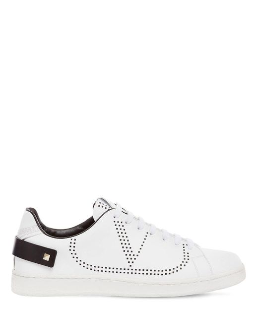 Valentino Garavani White Backnet Low Top Leather Sneakers for men