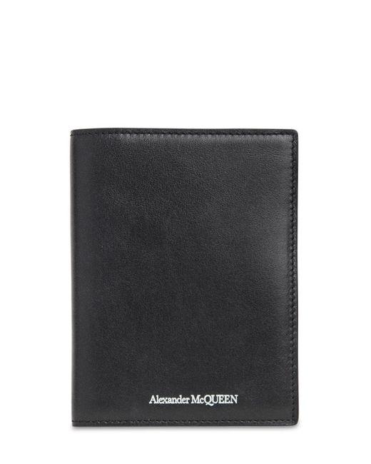 Кожаная Обложка На Паспорт С Логотипом Alexander McQueen для него, цвет: Black