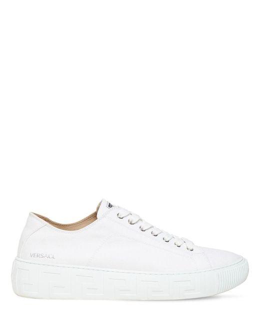 Кроссовки Из Канваса Versace для него, цвет: White