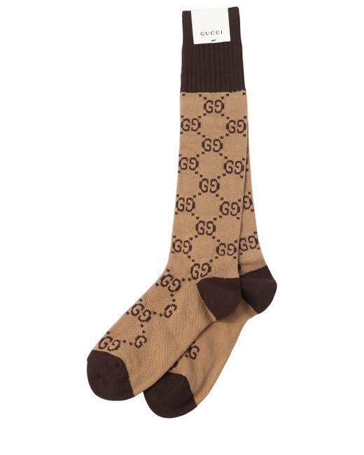 Chaussettes en maille de coton à jacquard GG Gucci pour homme en coloris Brown