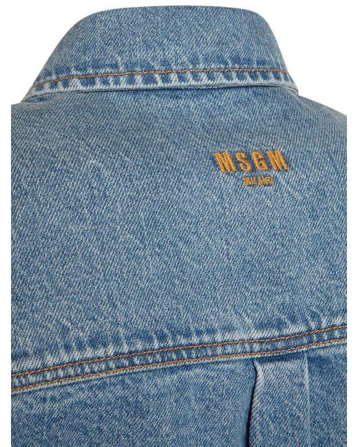 MSGM コットンデニムシャツ Blue