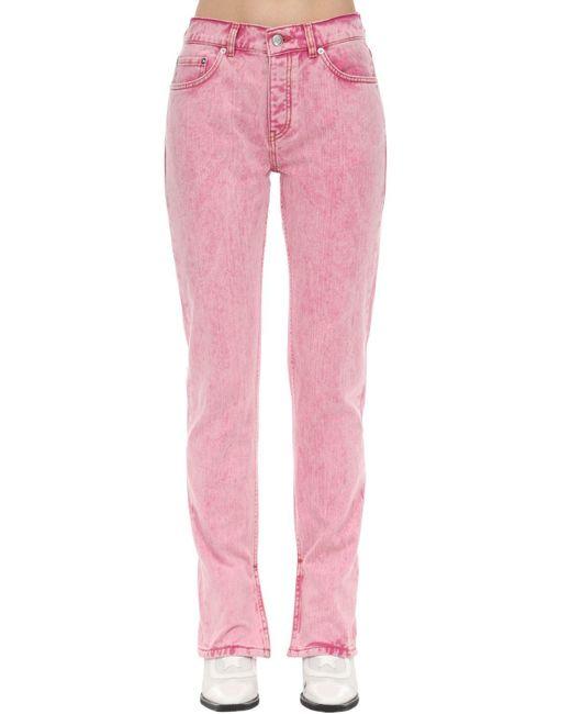 Джинсы Из Хлопкового Денима Ganni, цвет: Pink