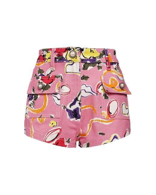 Alessandra Rich Floral コットンギャバジンショートパンツ Pink