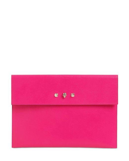 Alexander McQueen Envelope レザードキュメントケース Pink