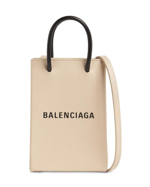 Balenciaga Shopping レザースマートフォンホルダーバッグ Natural