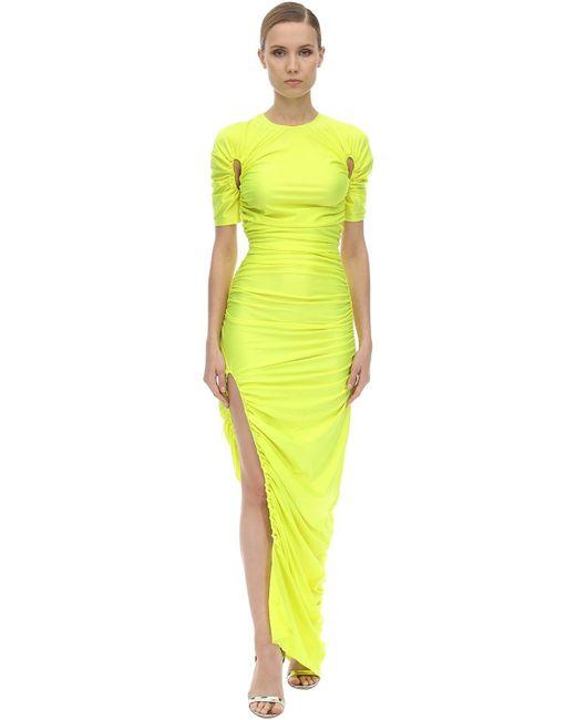 Mugler ライトストレッチジャージー ロングドレス Yellow