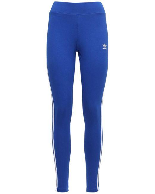 Adidas Originals 3 Stripes コットンレギンス Blue