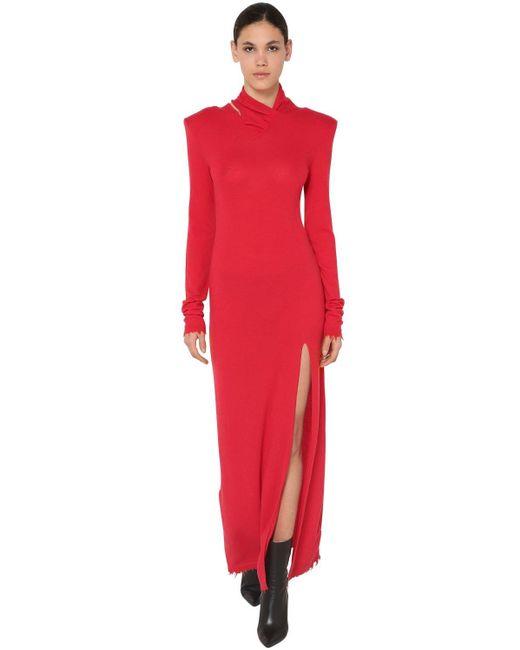 Unravel Project ウール混 ツイストロングドレス Red