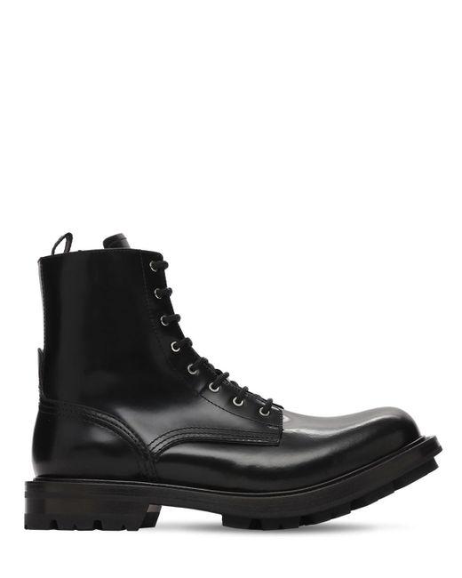 メンズ Alexander McQueen パテントレザーブーツ Black