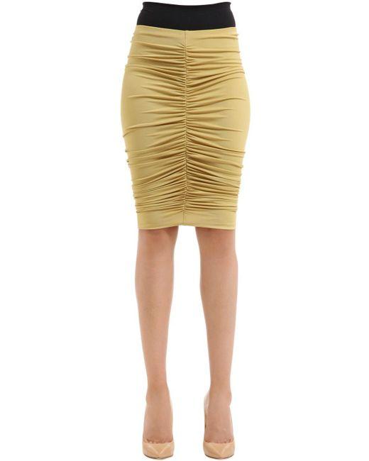 Max Mara   Yellow Caliga Draped Viscose Jersey Midi Skirt   Lyst