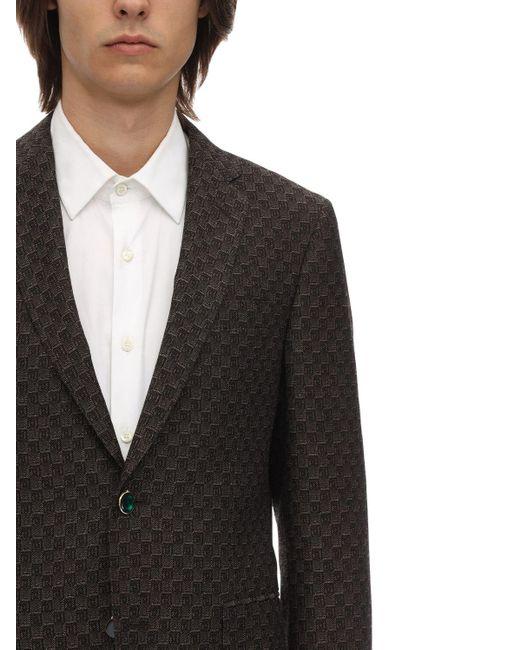 メンズ Etro ウール&コットンジャカード 3dモチーフジャケット Black