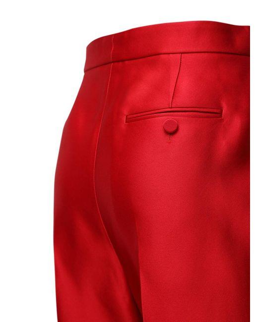 Брюки Из Шелка Дюшес Alexander McQueen, цвет: Red