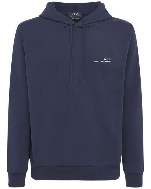 メンズ A.P.C. コットンフーデッドスウェットシャツ Blue