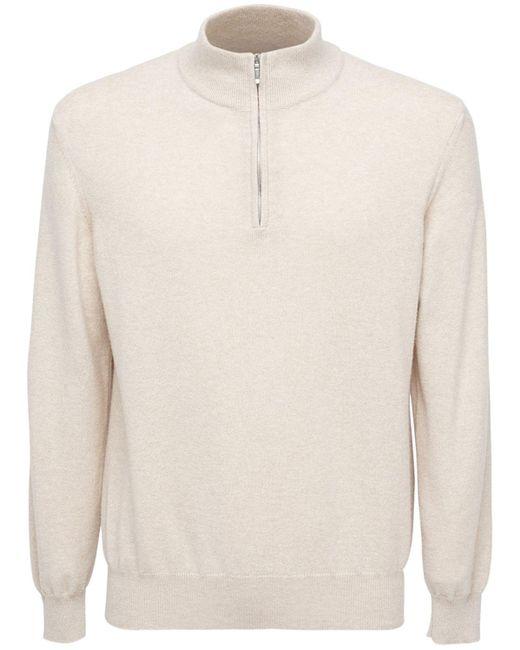 メンズ Loro Piana Classic カシミアジップセーター Natural