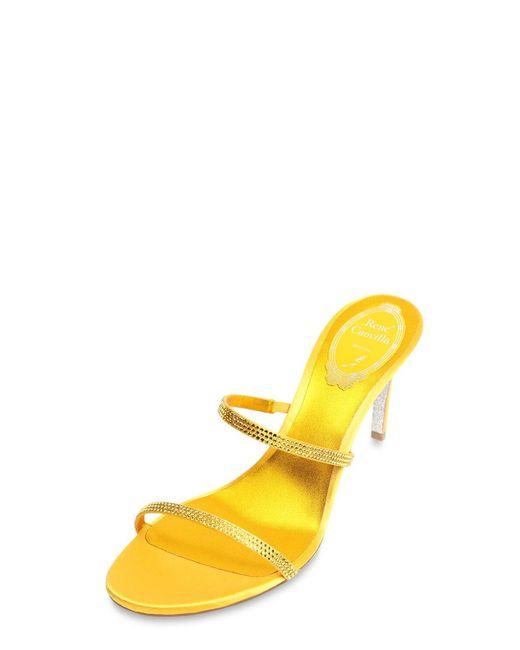 Rene Caovilla サテンサンダル 80mm Yellow