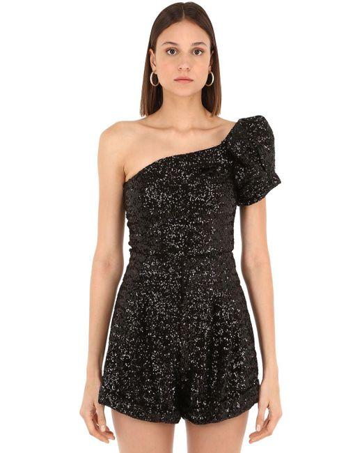 9f90389203d81e Isabel Marant - Black Ocha Sequined One Shoulder Top - Lyst ...