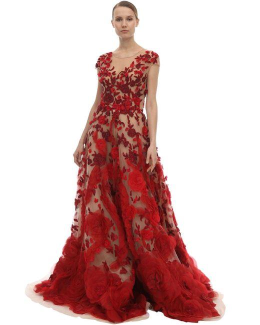 Marchesa チュール&シルクオーガンザドレス Red