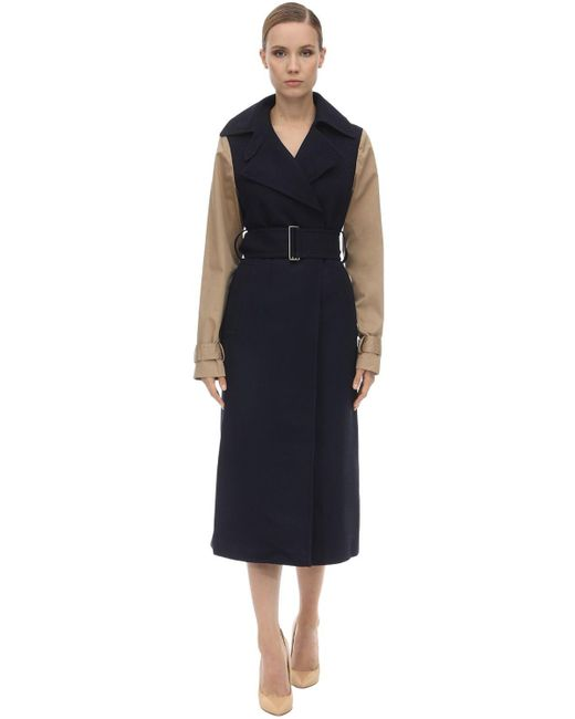 Victoria Beckham Contrast Sleeve Fitted Coat Blue
