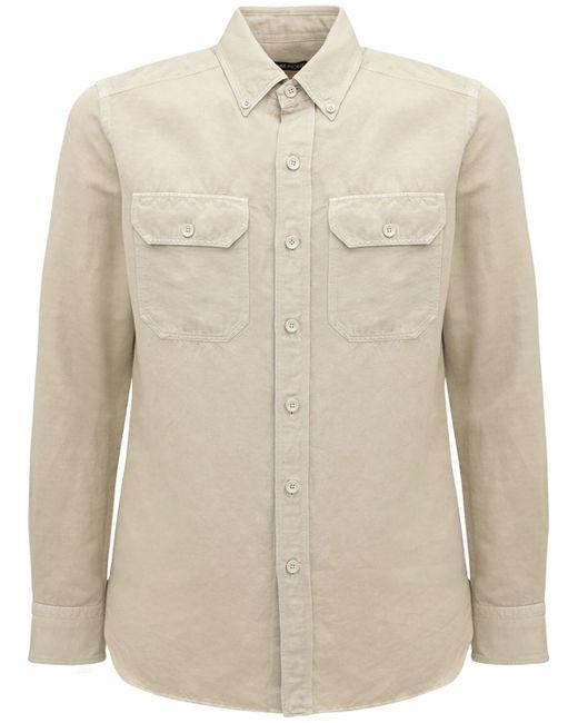 Рубашка Из Льна И Хлопка Tom Ford для него, цвет: Natural