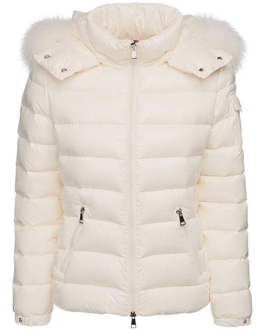 Куртка Из Лак.нейлона На Пуху С Меховой Оторочкой Moncler, цвет: Natural