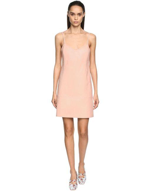 DROMe レザースリップドレス Pink