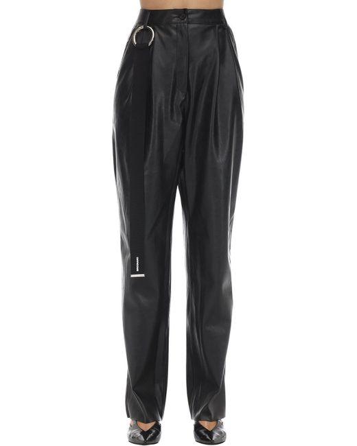 BROGNANO Black Faux Leather Pants