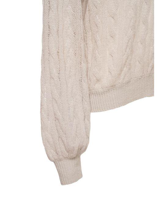 Agnona カシミアドロップニードルケーブルニットセーター Natural