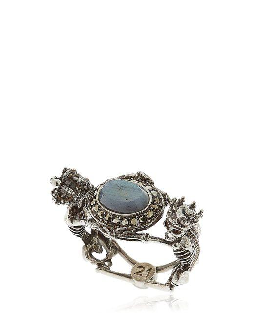 Alexander McQueen | Multicolor Skeleton Queen & King Labradorite Ring | Lyst