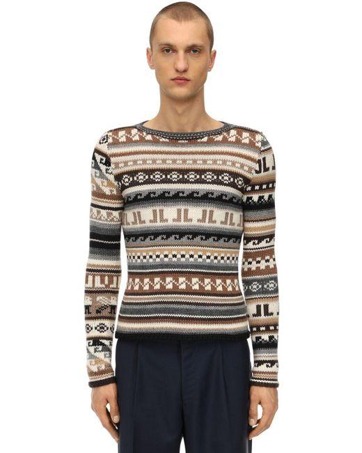 メンズ Lanvin バージンウール混 モノグラムセーター Multicolor
