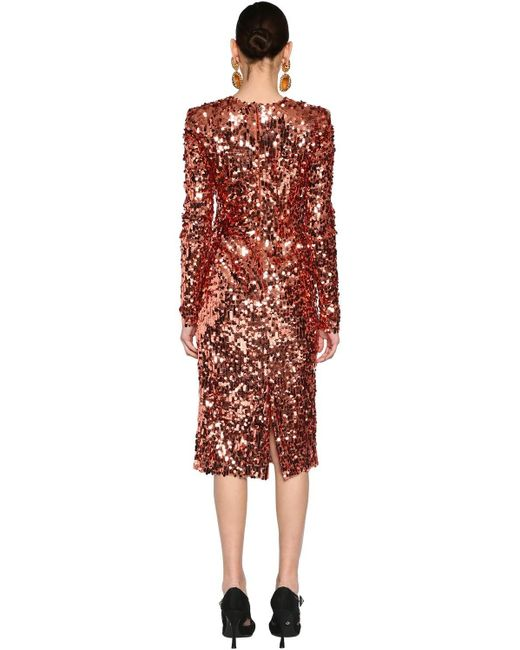 Платье Из Тюля С Пайетками Dolce & Gabbana, цвет: Pink